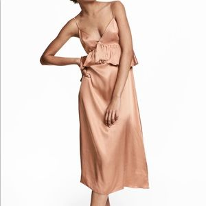 H&M Rose Gold Blush Ruffle Satin Slip Midi Dress